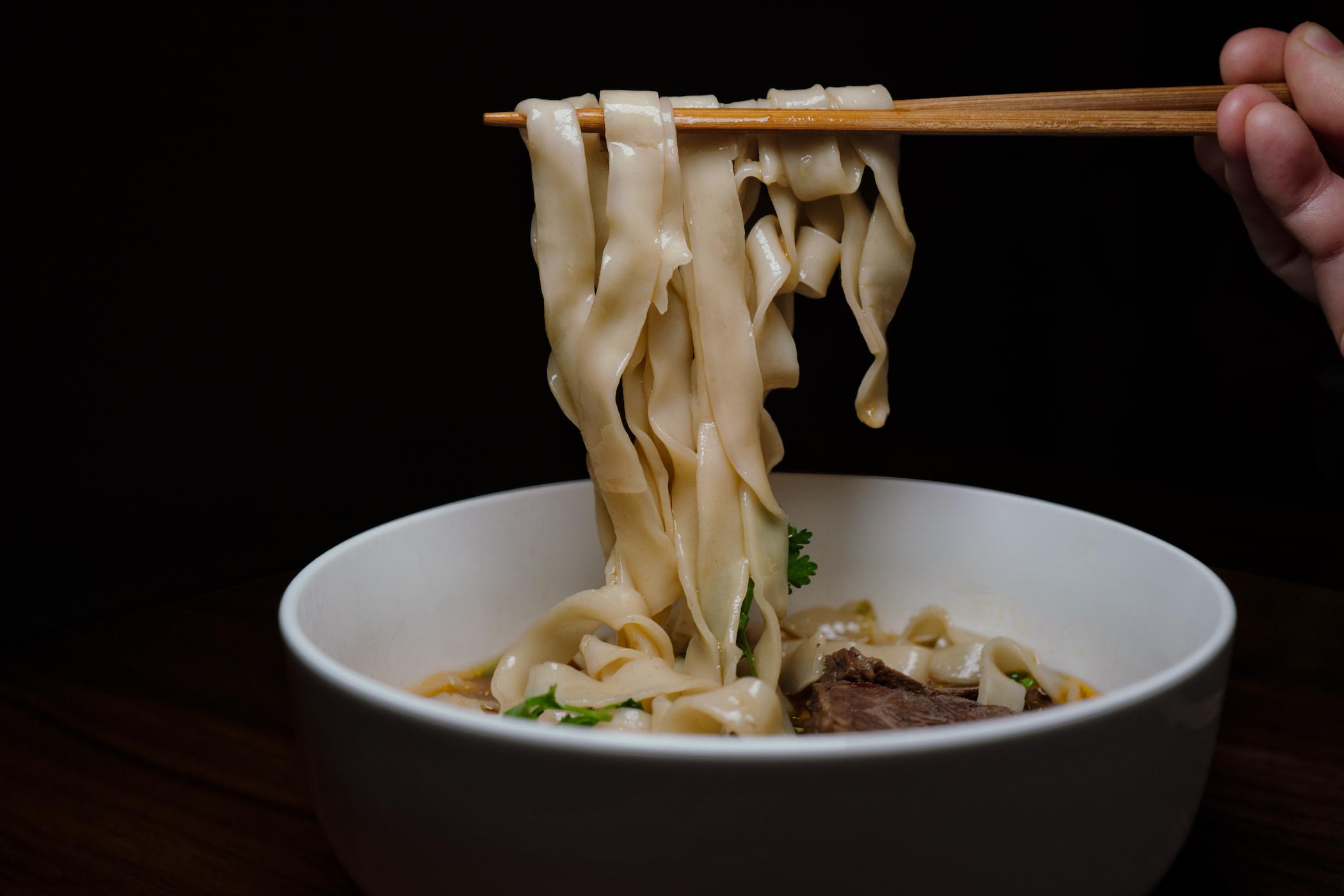 Ho Foods beef noodle soup - wide noodles